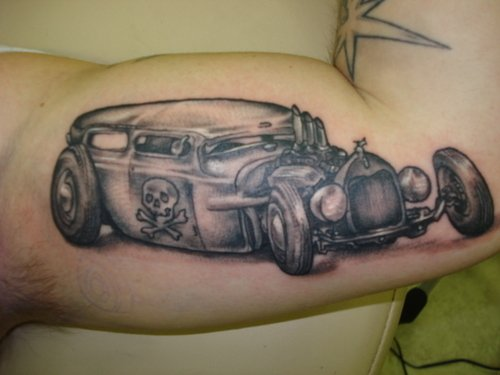 Grey Ink Car Portrait Tattoo On Inner Arm
