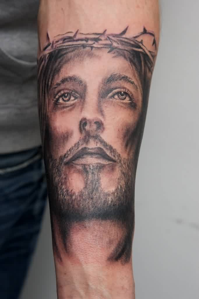 Grey Ink Christian God Portrait Tattoo On Arm