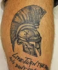 Grey Ink Cracked Helmet Tattoo