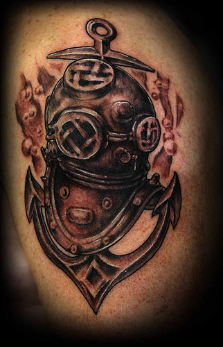 Grey Ink Diving Helmet And Anchor Tattoos