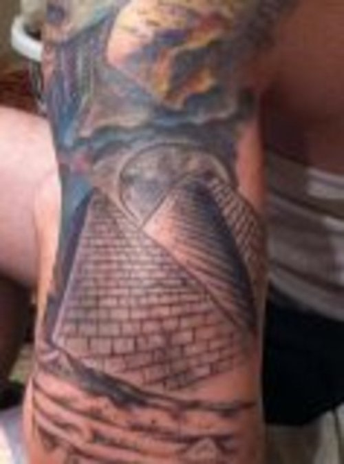 Grey Ink Egyptian Pyramids Tattoo