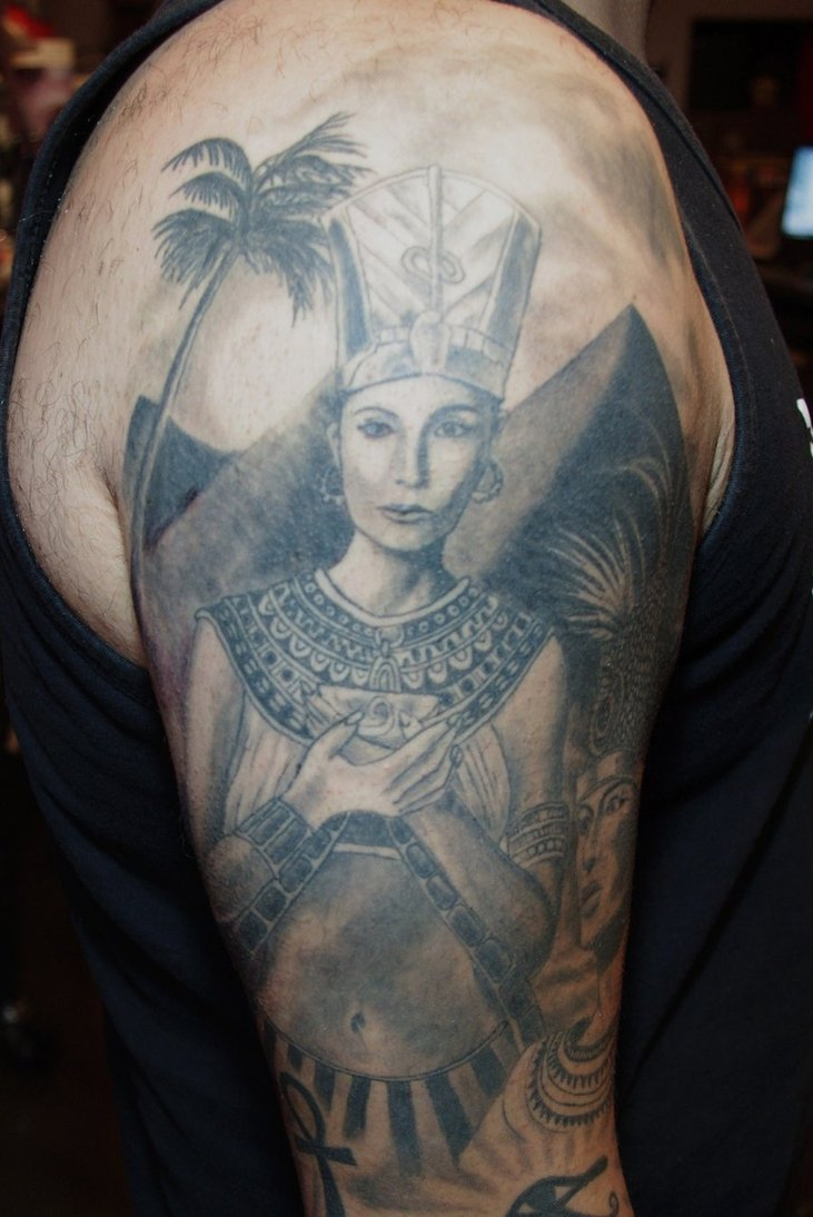Grey Ink Egyptian Queen Portrait Tattoo On Sleeve