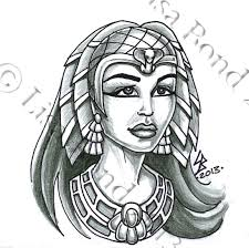 Grey Ink Egyptian Queen Tattoo Design