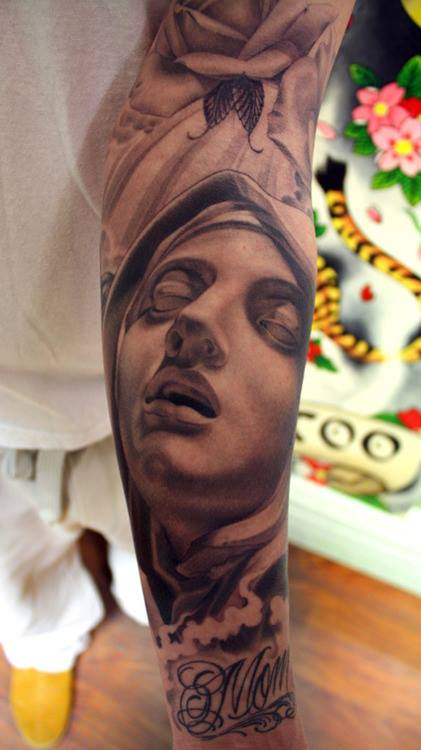 Grey Ink Eric Marcinizyn Portrait Tattoo On Sleeve