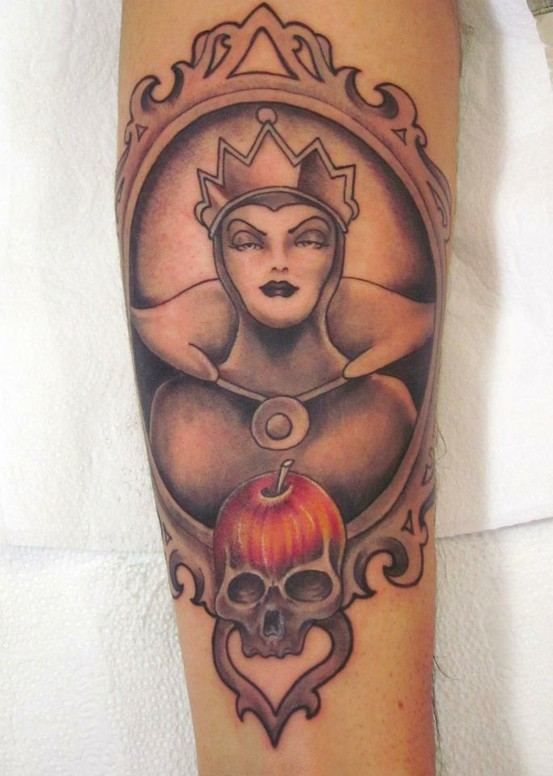Grey Ink Evil Queen Frame Tattoo