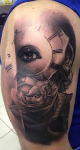 Grey Ink Eye Clock And Rose Portrait Tattoos