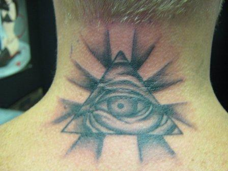 Grey Ink Eye Pyramid And Rays Tattoo On Back Neck