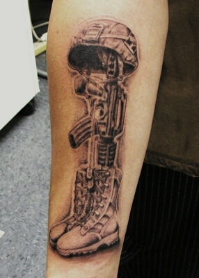 Grey Ink Fallen Soldier's Helmet Gun And Boot Tattoos