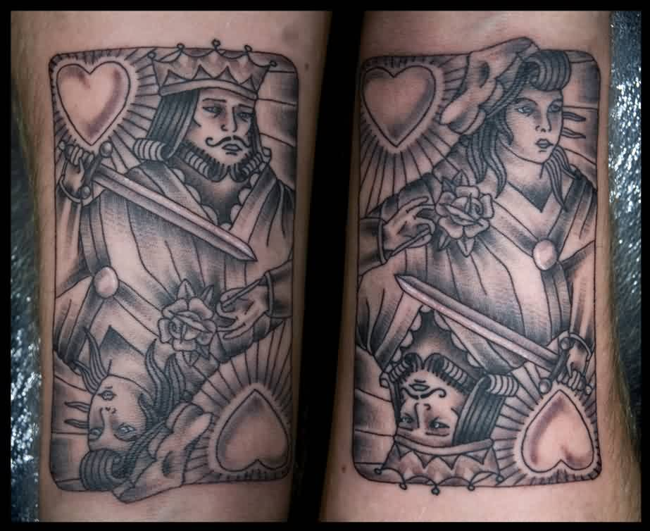 Grey Ink Gambling King And Queen Tattoos