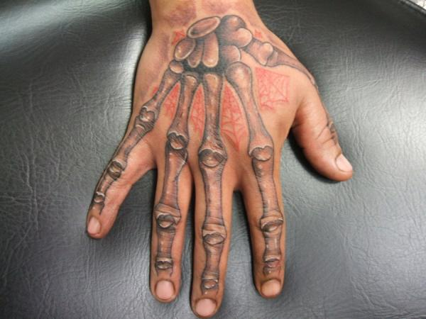 Grey Ink Hand Bones And Spiderweb Tattoos On Hand