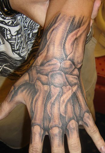 Grey Ink Hand Bones Tattoo (2)