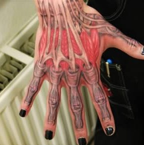 Grey Ink Hand Bones Tattoo