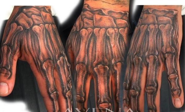 Grey Ink Hand Bones Tattoos