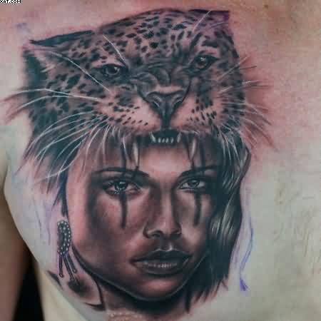 Grey Ink Jaguar Lady Portrait Tattoo On Chest