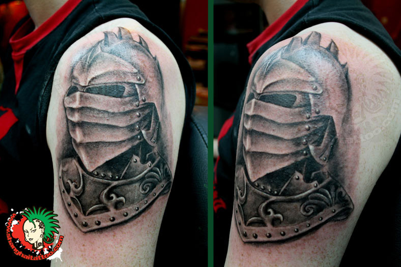 Grey Ink Knight Helmet Tattoos On Shoulders
