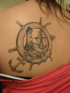 Grey Ink Lighthouse Ship In Wheel Tattoos