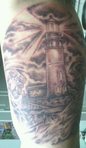 Grey Ink Lighthouse Tattoo For Men