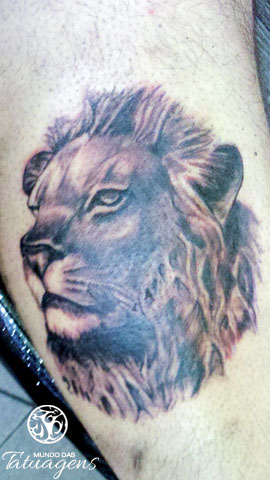 Grey Ink Lion Portrait Tattoo
