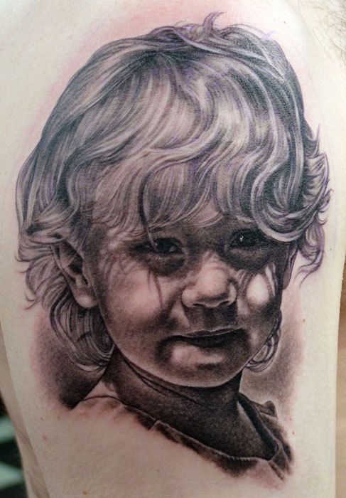 Grey Ink Little Girl Portrait Tattoo