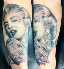 Grey Ink Marilyn Monroe Pin Up Portrait Tattoo