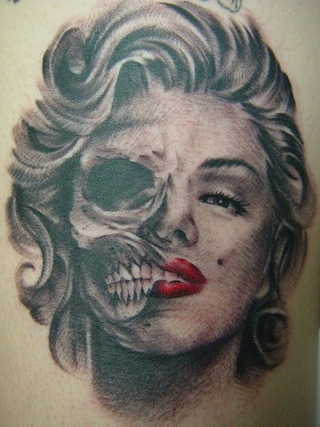Grey Ink Marilyn Monroe Skull Portrait tattoo