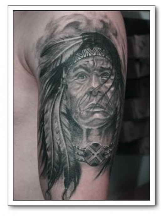 Grey Ink Native American Portrait Tattoo On Biceps