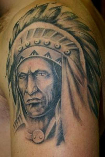 Grey Ink Native American Portrait Tattoo On Shoulder