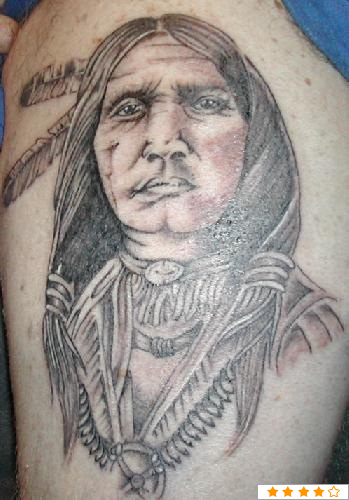 Grey Ink Native American Portrait Tattoo