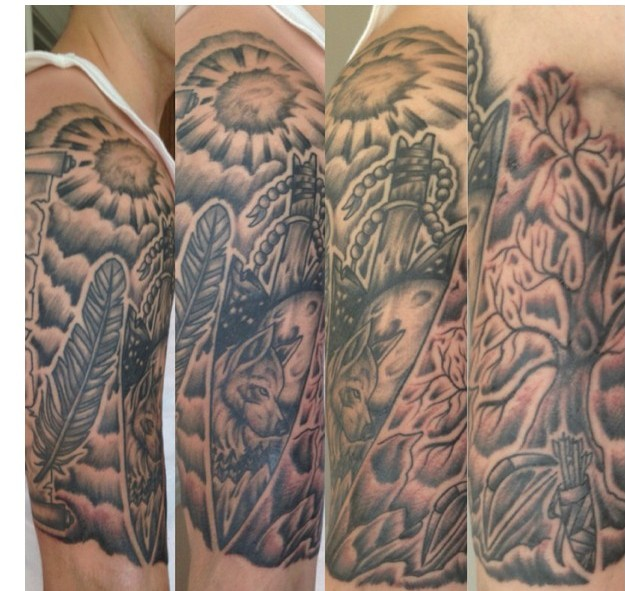 Grey Ink Native American Tattoo On Half Sleeve
