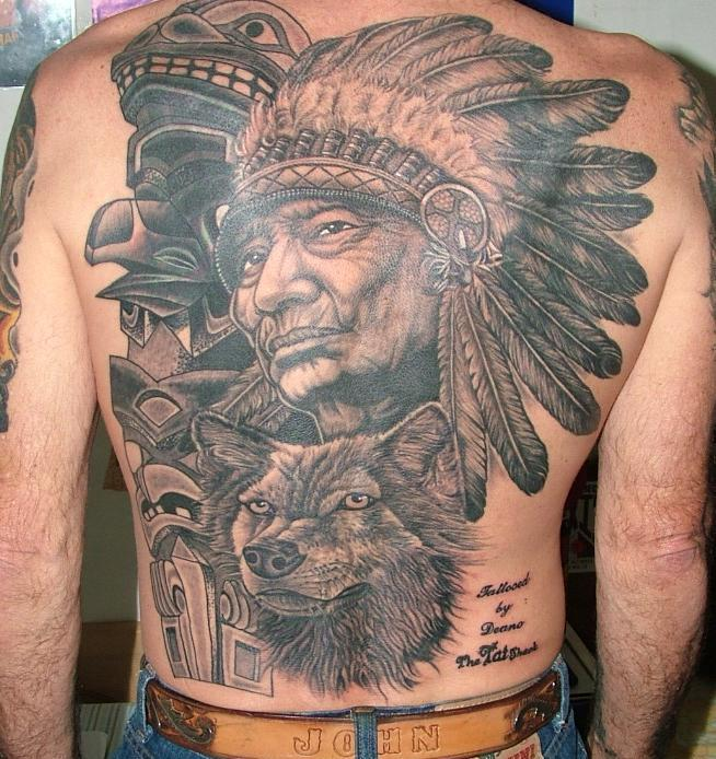 Grey Ink Native American Tattoos On Backbody