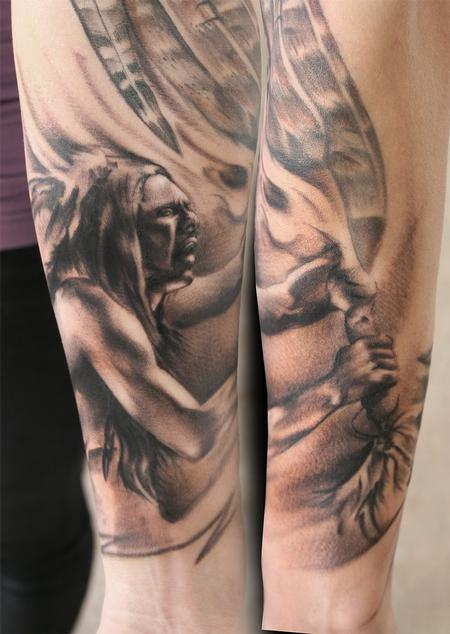 Grey Ink Native American Tattoos On Forearm