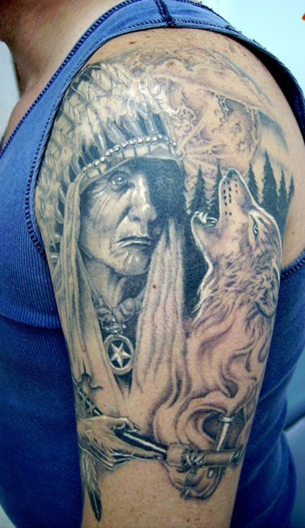 Grey Ink Native American Tattoos On Upper Arm