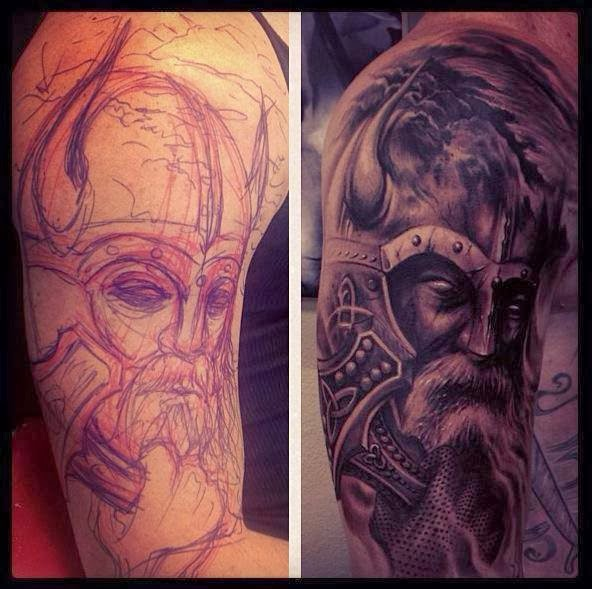 Grey Ink Old Viking Portrait Tattoo On Half Sleeve