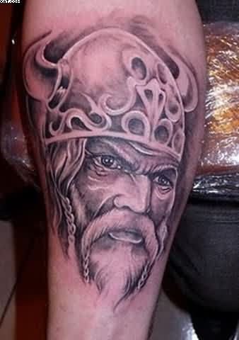 Grey Ink Old Viking Portrait Tattoo
