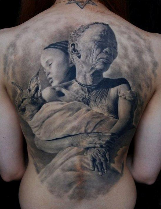 Grey Ink People Portrait Tattoos On The Back