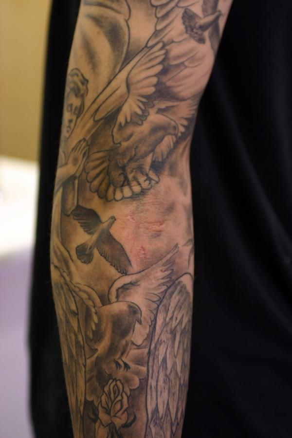 Grey Ink Pigeons And Angel Tattoos On Sleeve