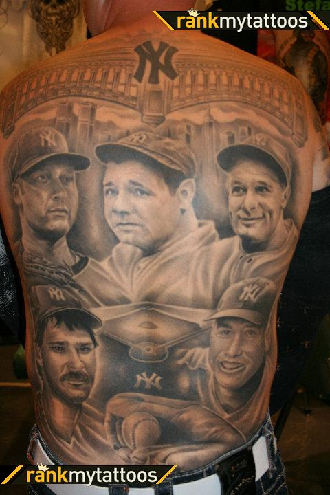 Grey Ink Portrait Tattoos On Entire Backbody