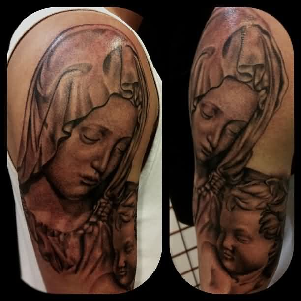 Grey Ink Portrait Tattoos On Sleeve (3)