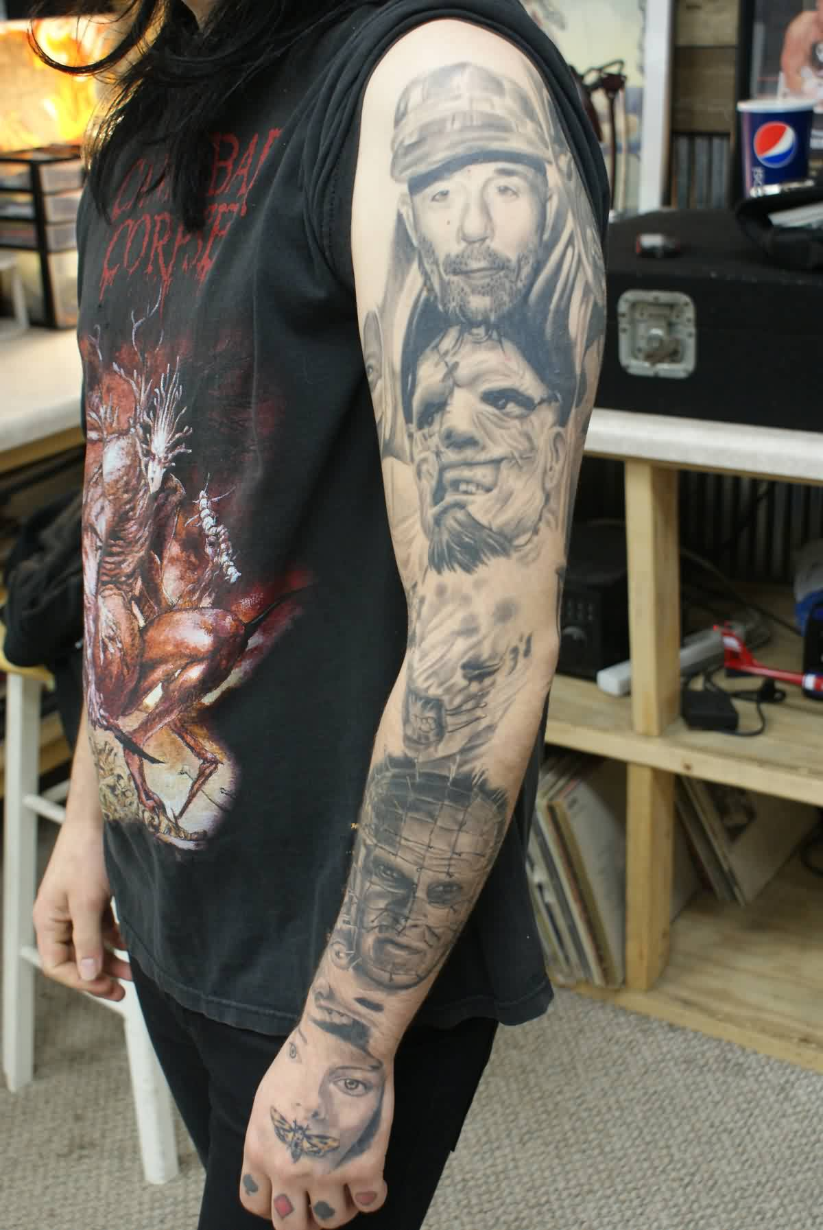 Grey Ink Portrait Tattoos On Sleeve