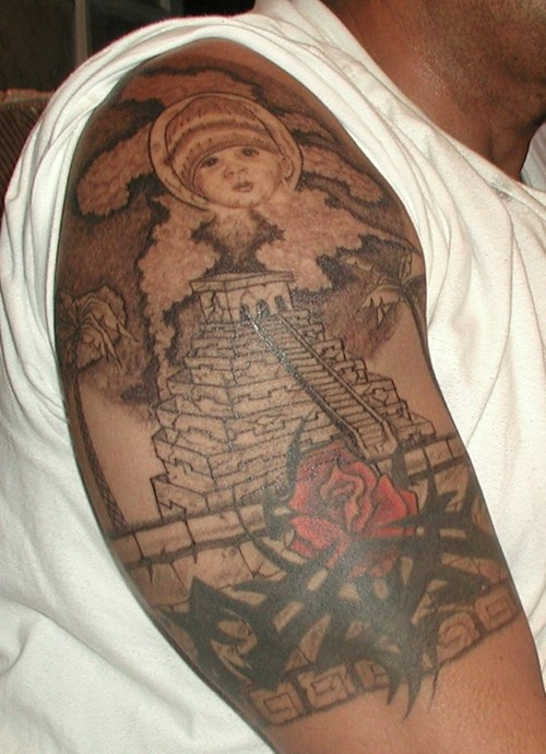 Grey Ink Pyramid And Rose Tribal Tattoos