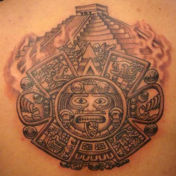 Grey Ink Pyramid Flames And Aztec Tattoos On Back