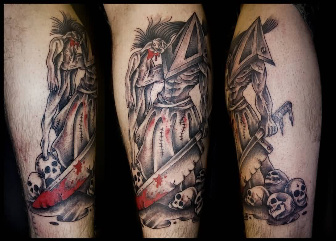 Grey Ink Pyramid Head Tattoos