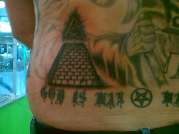 Grey Ink Pyramid Tattoo For Men