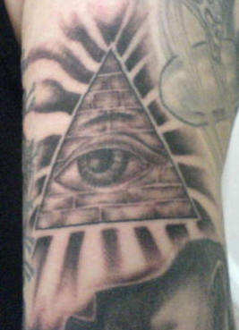 Grey Ink Pyramid With Eye Tattoo