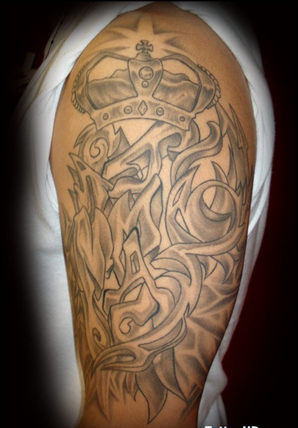 Grey Ink Queen And King Tattoos On Arm