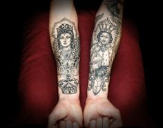 Grey Ink Queen And King Tattoos On Forearms