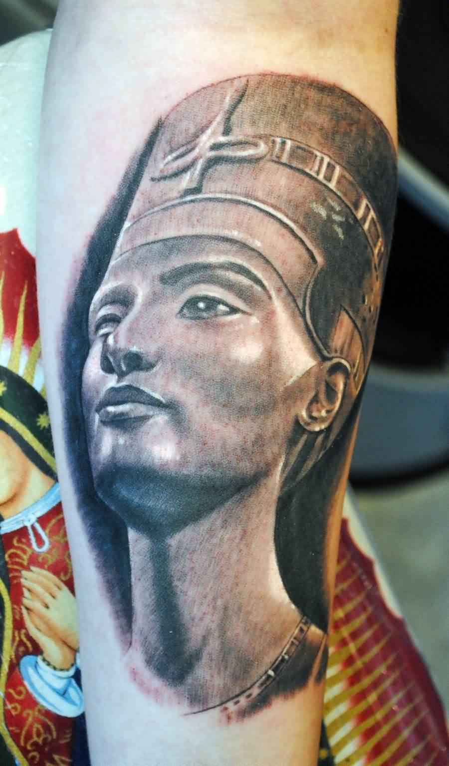 Grey Ink Queen Nefertiti Portrait Tattoo