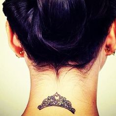 Grey Ink Queen's Crown Tattoo On Back Neck