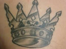 Grey Ink Queen's Crown Tattoo