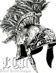 Grey Ink Roman Helmet Tattoo Design